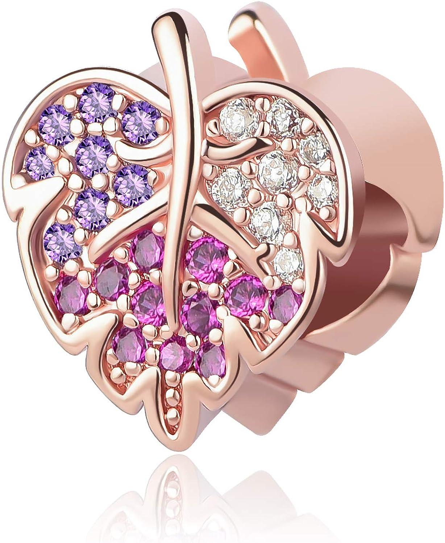 QeenseKc Sparkling Canada Maple Pave Leaf Charm Muticolor Crystal Bead fits Pandora Bracelet
