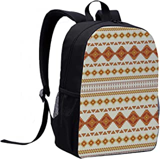 Native American Versatility Backpack,Aztec Pattern with Vintage Colors Ethnic Mexican Indigenous Culture Print Decorative for Trips,12