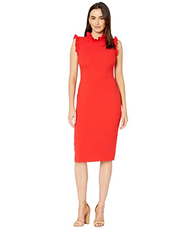 Maggy London Solid Crepe Sheath with Ruffle Detail Dress (Tomato Red) Women