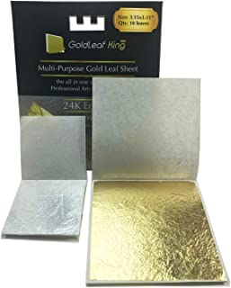 99.99% Purity Large 10 x 24K Edible Gold Leaf Sheets 3.15 x 3.15 inches Goldleafking for Cooking, Cake & Chocolate, Arts, Food Decoration, Golden Chicken Gilding, Multi-Purpose + Free Silver Leaf x 10