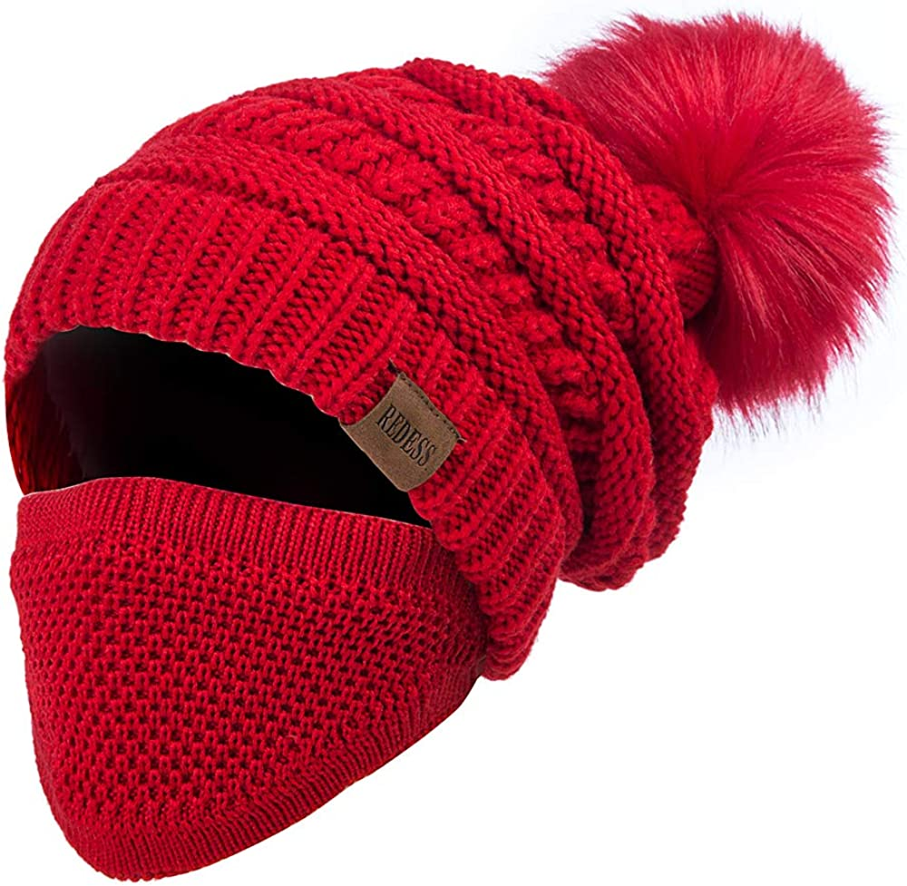 REDESS Women Winter Pom Beanie Lined Industry Oklahoma City Mall No. 1 Warm with Fleece Hat