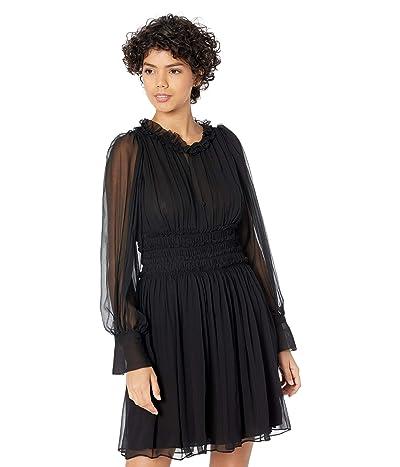 Rebecca Taylor Long Sleeve Silk Chiffon Dress Women