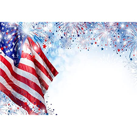 Wofawofa American Flag Backdrop 7X5FT Vinyl 4th July Fireworks Fresh Window Labor Day Backdrops Independence Day Photography Background for Patriotic Veteran Memorial Day Photo Studio Props KX903