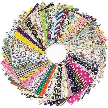 Ogquaton /Lot de 50 Tissus Coton Floral Imprim/é Boundle Patchwork Carr/és Accessoires de Couture DIY Durable et Utile