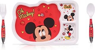 Finex Set of 3 Red Mickey Mouse Mealtime Kids Dinner Meal Dishes Feeding set for toddlers preschoolers - Set with plate spoon fork Food Grade top rack dishwasher safe