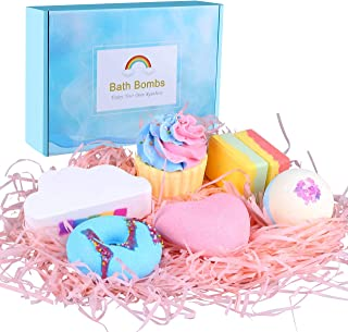 Bath Bombs Gift Set - 7 Pcs Natural Bubble Bath Bombs for Women Kids, Handmade Fizzies Spa Kit for Moisturizing Skin, Gifts for Mom Her Girlfriend Birthday Valentines Christmas