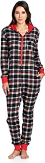 Women's Flannel Hooded One Piece Pajama Union Jumpsuit