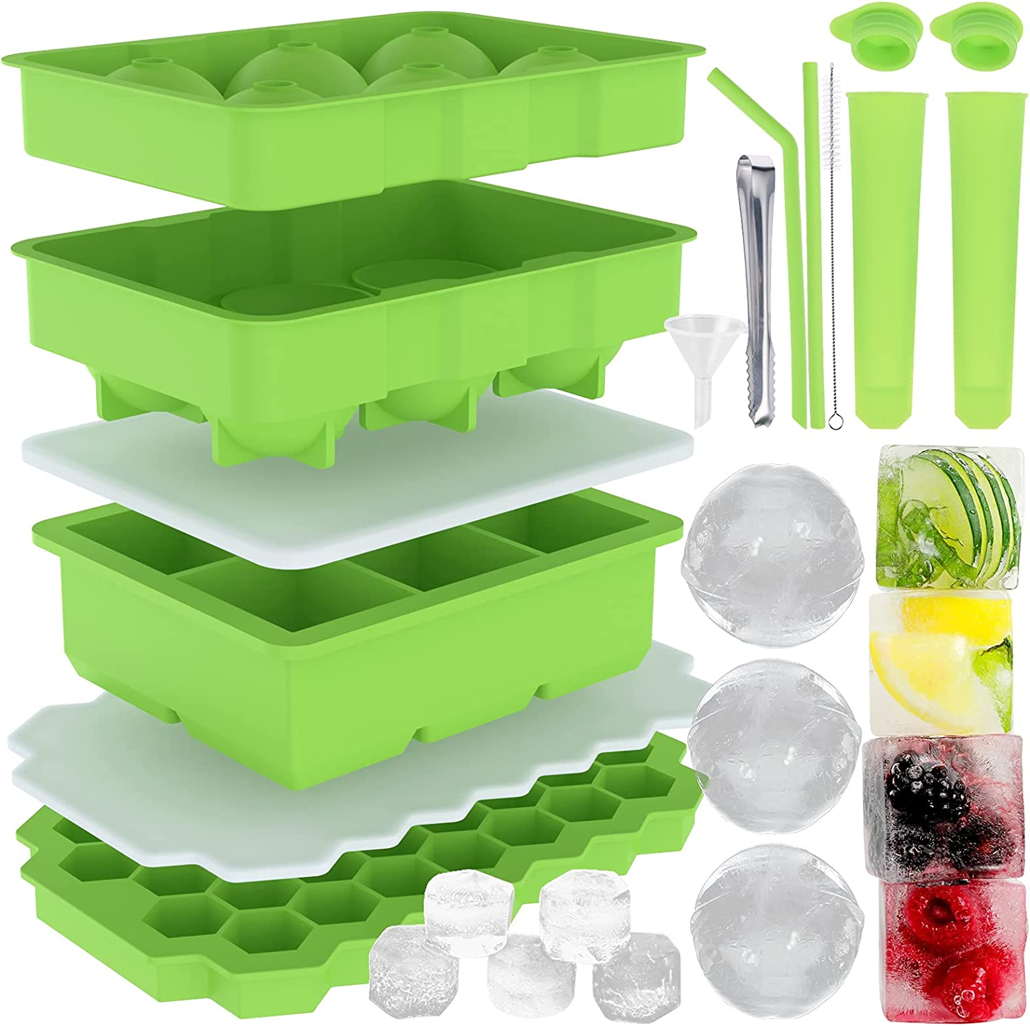 Cieex Ice Cube Trays Silicone Molds with San Diego Mall Removeable Lids Max 66% OFF