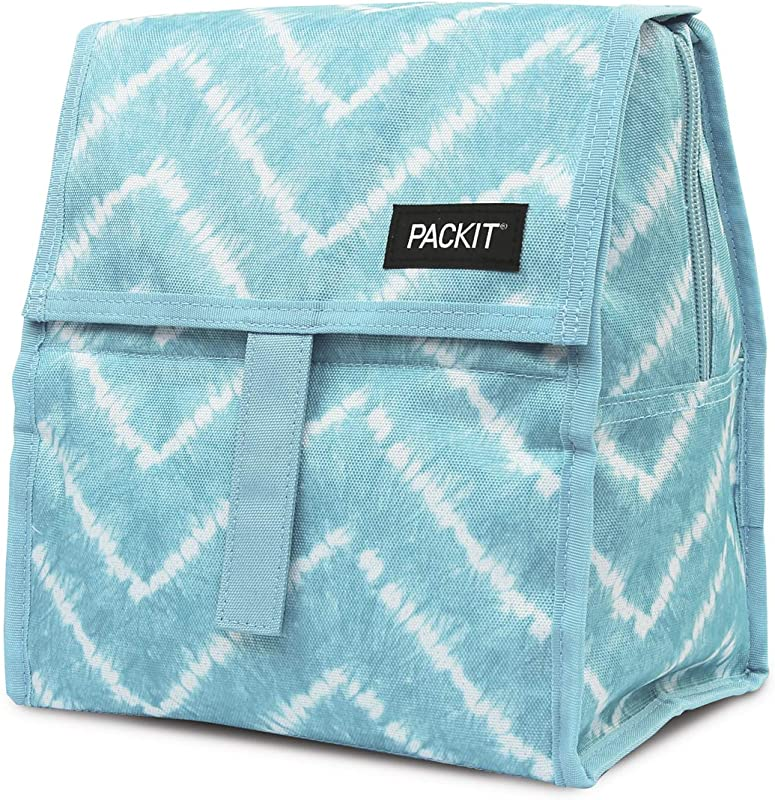 PackIt Freezable Lunch Bag With Zip Closure Aqua Tie Dye