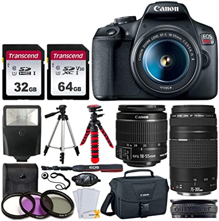 Canon EOS Rebel T7 Camera + EF-S 18-55mm f/3.5-5.6 is II + EF 75-300mm f/4-5.6 III Lens + Canon EOS Shoulder Bag + 32GB Memory Card + 64GB Memory Card + 2X Tripod + Slave Flash – Liquid DEALS Cloth