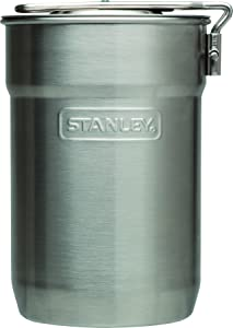 Stanley Adventure Camp Cook Set - 24oz Kettle with 2 Cups - Stainless Steel Camping Cookware with Vented Lids & Foldable + Locking Handle - Lightweight Cook Pot for Backpacking/Hiking/Camping