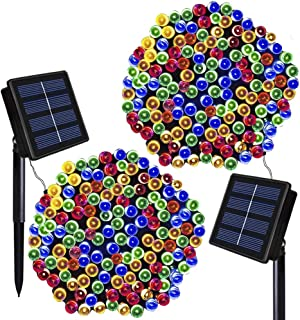 Solar Christmas Lights Solarmks 2 Pack Solar String Lights 72ft 200 LED 8 Modes Waterproof Solar Fairy String Lights for Outdoor, Gardens, Homes, Wedding, Christmas Party,Xmas Tree (Multi-color)