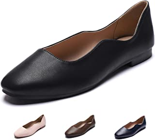 CINAK Women's Ballet Flats Comfort Walking Breath Slip-on Classic Round Toe Dress Shoes