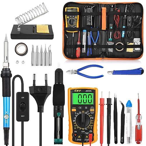 KKmoon Kit de soudure outil portable r/églable pour temp/érature /électrique soudure /à souder l/éger 60 W avec pointes en fer soud/é /à 5 pi/èces
