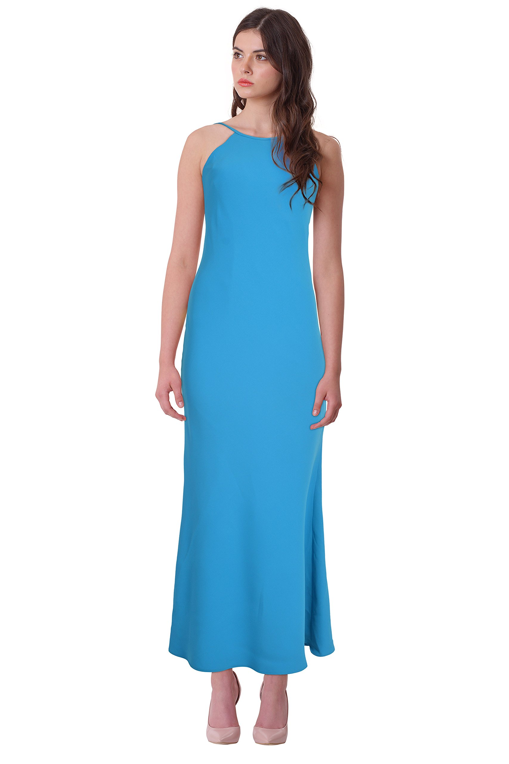 Available at Amazon: Calvin Klein Crepe Open Back Halter Evening Gown Dress