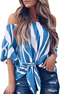 CILKOO Women's Striped 3/4 Bell Sleeve Off The Shoulder Front Tie Knot T Shirt Tops Blouse(S-XXL)