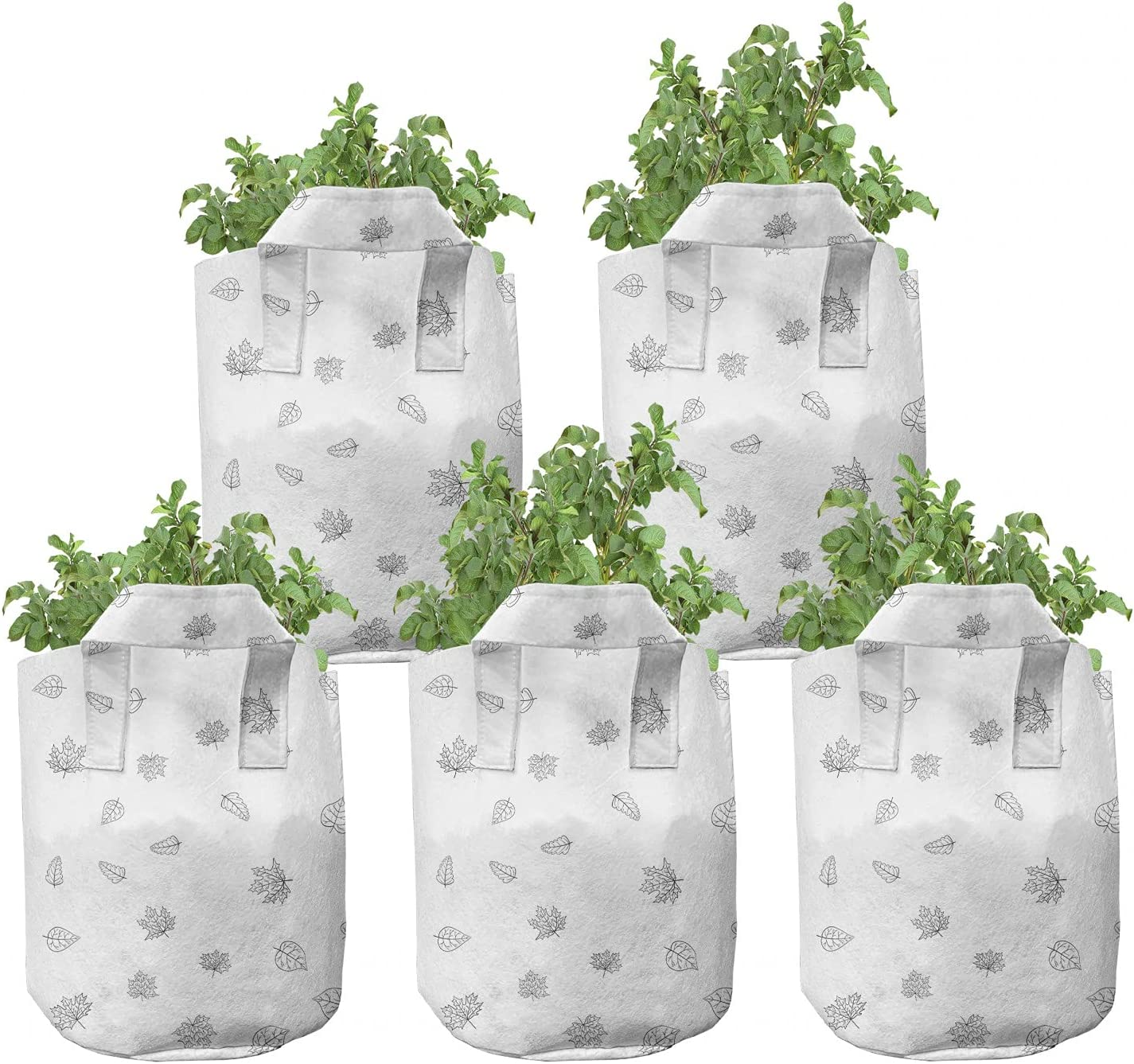 Fixed price for sale Ambesonne Autumn New popularity Grow Bags 5-Pack H Season Fall Foliage Leaves