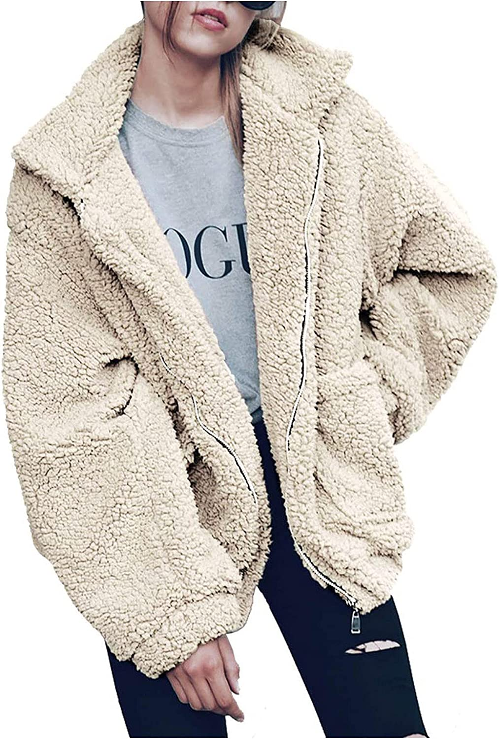 GERsome Ladies Warm Faux Furry Coat for Women's Winter Oversized Turn Down Collar Jacket Fashion Zipper Pockets Outerwear White