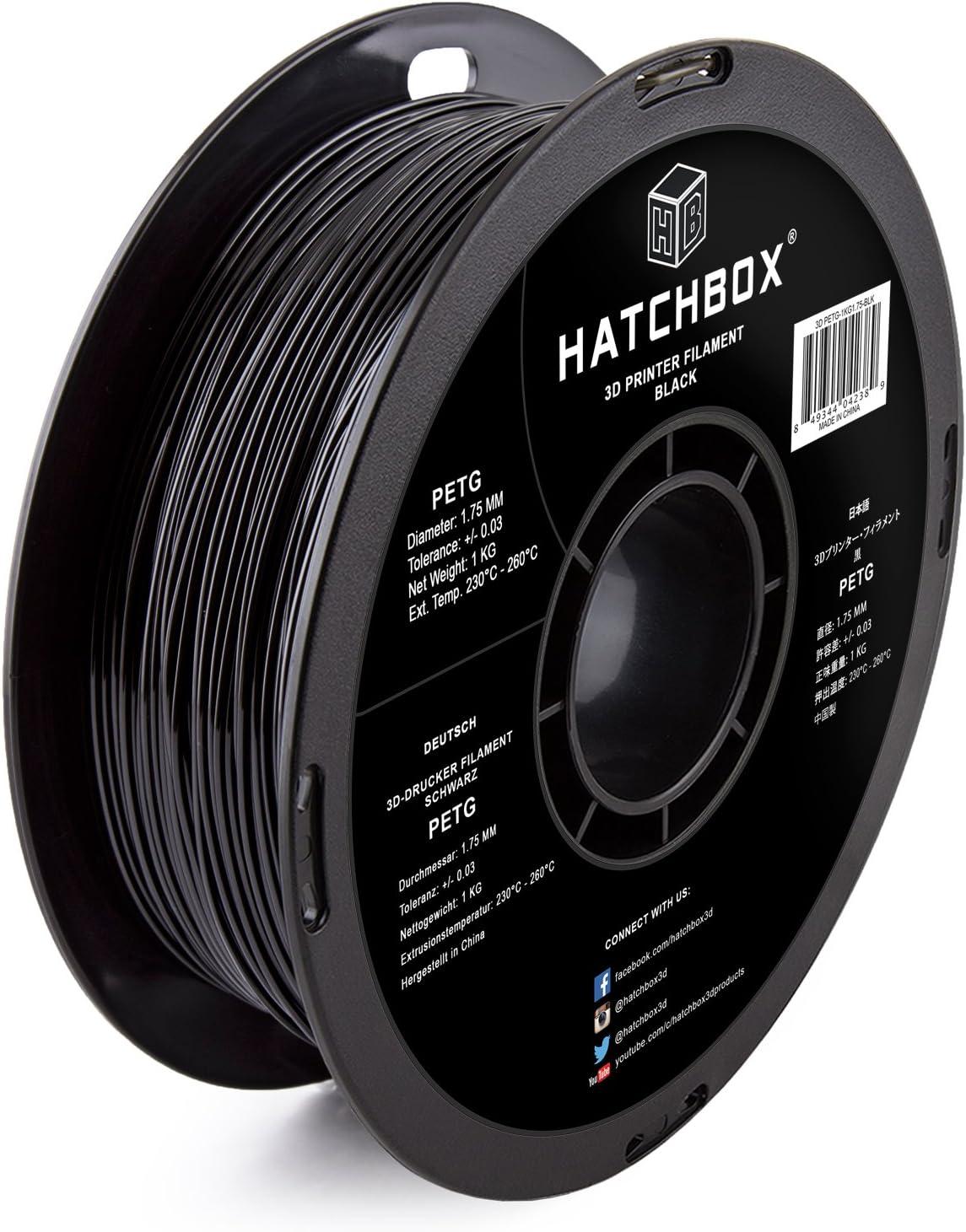 HATCHBOX PETG 3D Printer Filament, Dimensional Accuracy +/- 0.03 mm, 1 kg Spool, 1.75 mm, Black