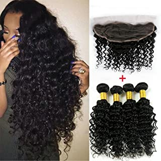 ALIMICE HAIR 4 pcs Virgin Indian Deep Curly Hair With Frontal Closure Indian Deep Wave With Frontal 13x4 Lace Frontal Closure With Bundles (22 & 24 & 26 & 28 & Closure 20)