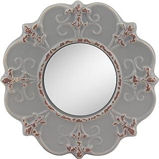 Stonebriar Decorative Round Antique Gray Ceramic Wall Mirror, Vintage Home Décor for..