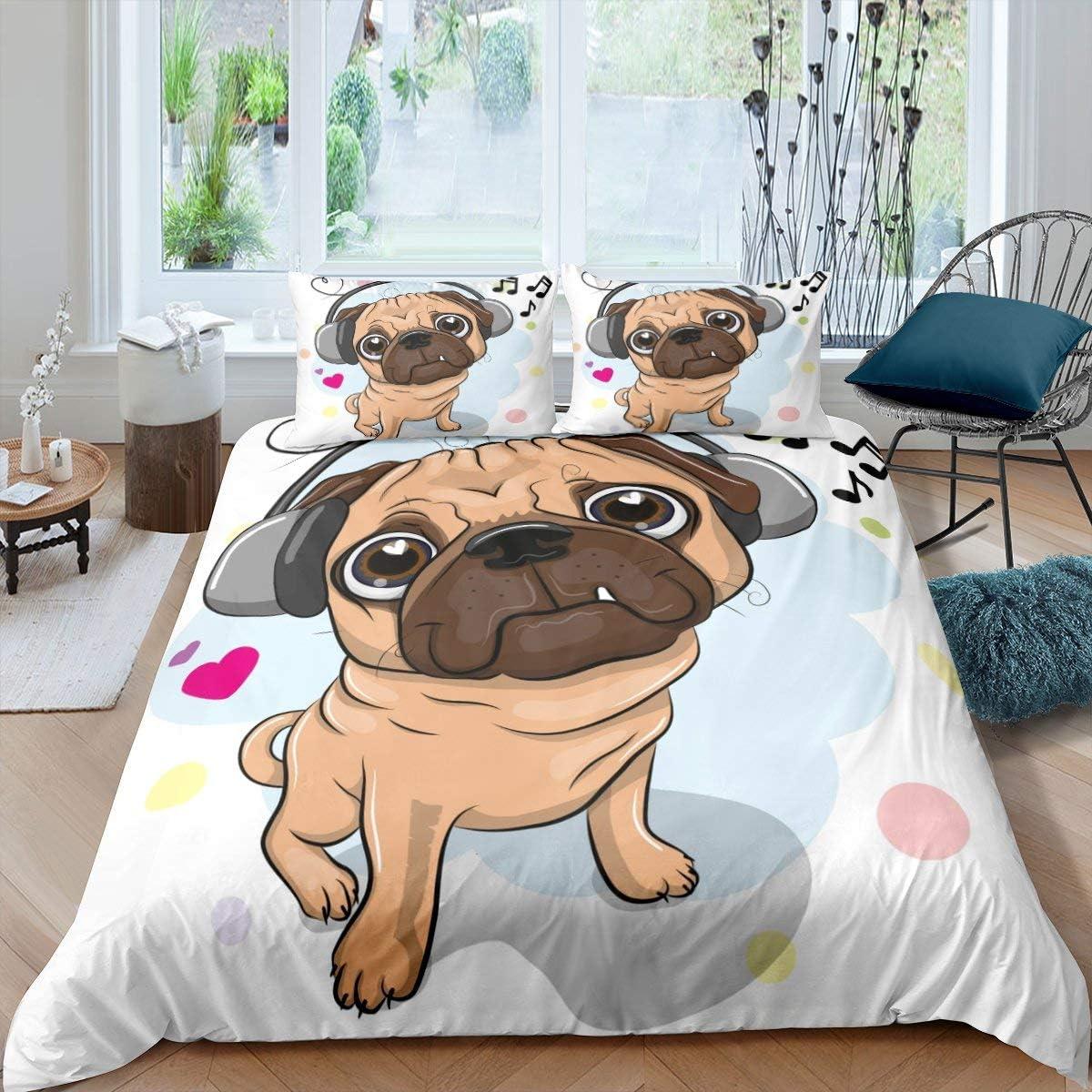 Cartoon Dog Bedding Set Music チープ Notes For Adu Cover Comforter 毎日続々入荷 Kids