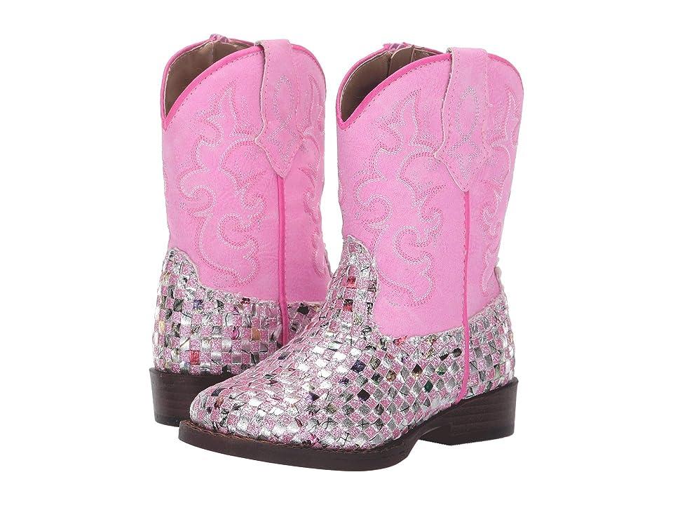 Roper Kids Western Braid (Toddler) (Pink Braided Multicolor Glitter Vamp) Cowboy Boots