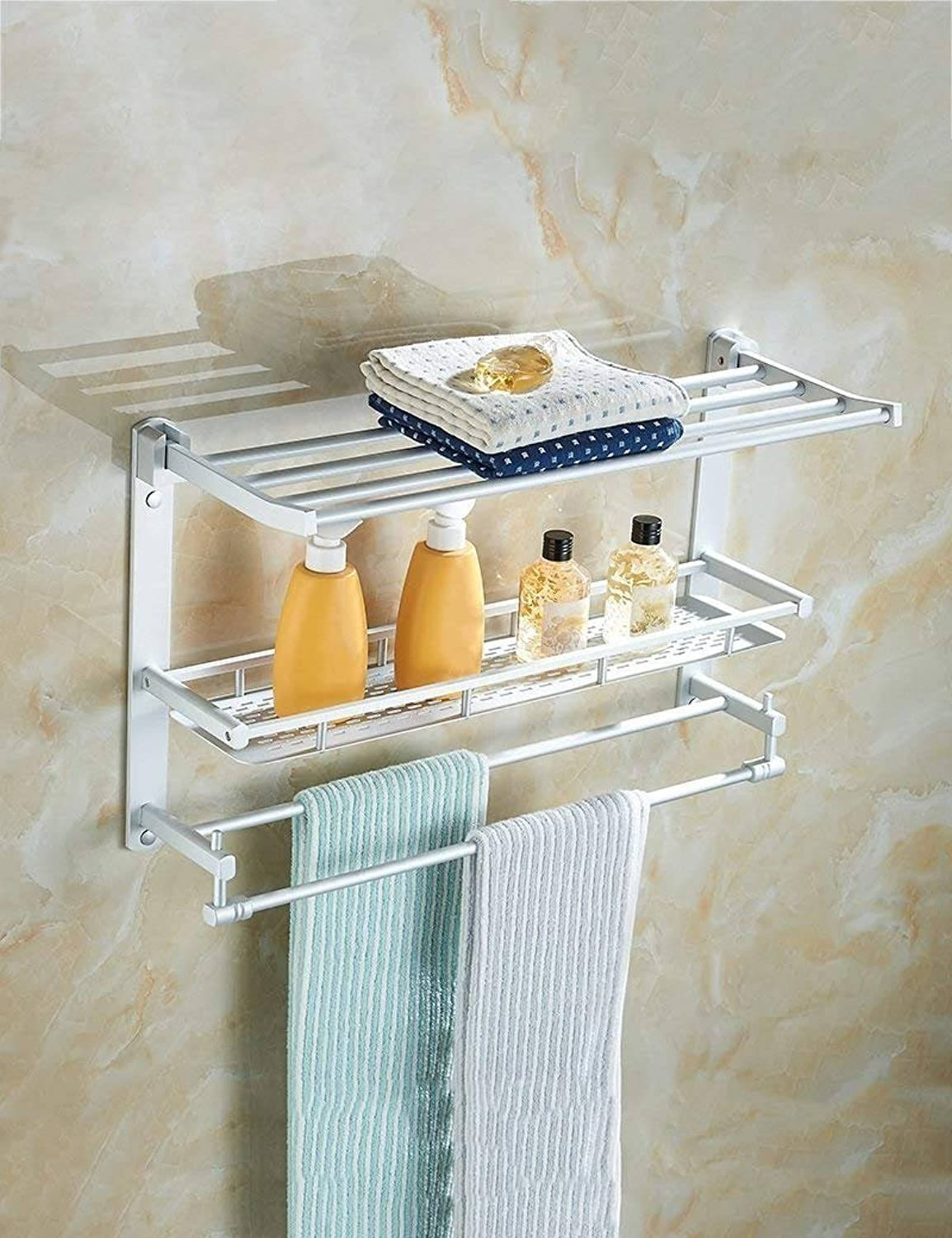 Shower-Folding, SEC Extremely Strong in The Aluminum of The Space Storage Rack Three Layers Shelves Bathroom thickener Pendentif Equipment Providing The Quality (color 3, Size  40cm)