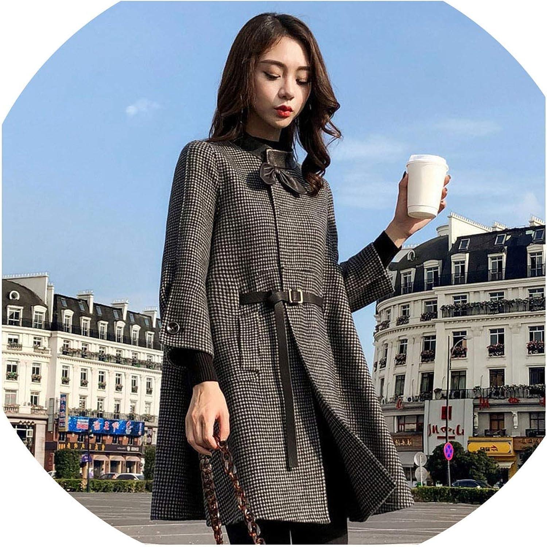 colorfulspace 2019 Women Winter Wool Coat Elegant Coat Long Paragraph Cloak Houndstooth