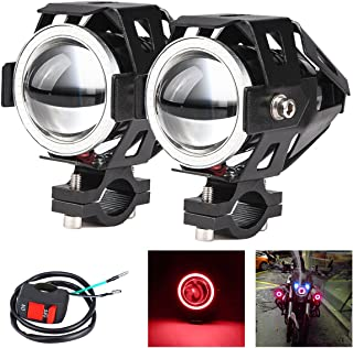 2x Motorcycle Headlights CREE U7 DRL Fog Driving Lamps with Angel Eyes Lights for Cars Bike Boat ATV Front Spotlights High/Dim/Strobe 3 Modes Included 1x Switch 30W 6500K White Color (red)