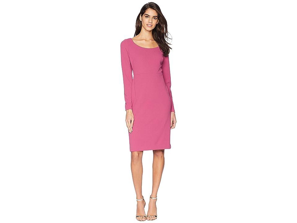 Betsey Johnson Long Sleeve Scuba Sheathe Dress (Rose) Women