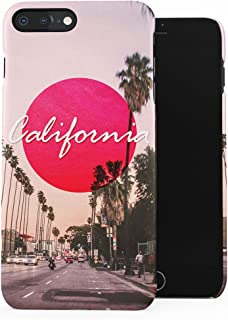 Sunny Tropical Beverly Hills Long Beach California Summer Vibes Plastic Phone Snap On Back Case Cover Shell Compatible with iPhone 7 Plus & iPhone 8 Plus