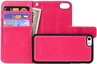 COCASES Wallet Case Compatible iPhone SE, iPhone 5, iPhone 5s, [Detachable Folio Style] Premium PU Leather Flip Stand Cover Card Slot Wristlet Strap - Rose Red