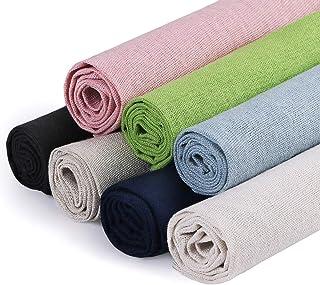 Linen Needlework Fabric, 7 Colours Linen Fabric Cloth for Garment Craft Flower Pot Decoration Embroidery Cross Stitch Clot...
