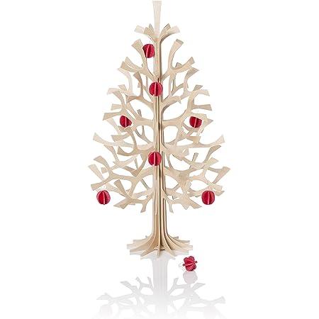 Lovi ロヴィ ツリー クリスマスツリー Momi-no-ki 30cm NT ナチュラル + ミニボール BRRD ブライトレッド セット 白樺 組み立て式 フィンランド製 LVLOMXTREEBALL