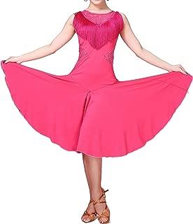 Lace Fringe Circular Latin Dance Routine Practice Dresses Wear Ladies