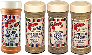 Bolner's Fiesta Game and Fish Seasonings Variety Bundle: (1) Seafood Seasoning, (1) Game Fish Seasoning, (1) Jerky Seasoning, and (1) Wild Game Rub