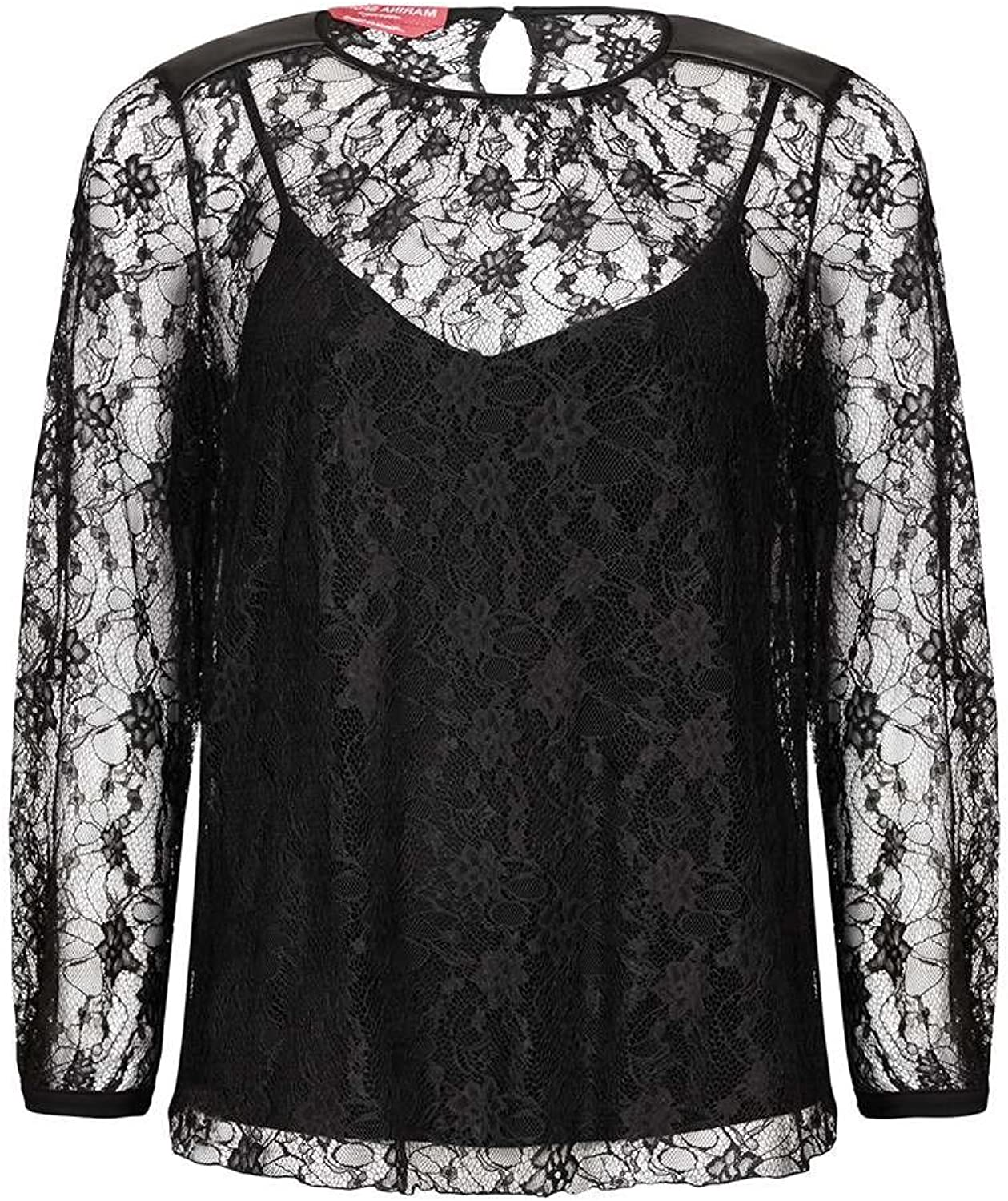 Marina Rinaldi Women's Balia Lace Shell Blouse, Black