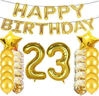 Sweet 23th Birthday Decorations Party Supplies,Gold Number 23 Balloons,23th Foil Mylar Balloons Latex Balloon Decoration,Great 23th Birthday Gifts for Girls,Women,Men,Photo Props