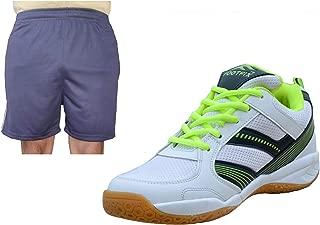FOOTFIX Spectrum White (Non Marking) PU Badminton Shoe White with Blue Short for Men Footwear Combo