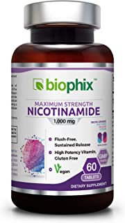 B3 Nicotinamide 1000 mg 60 Tabs Extra Strength Slow Release Natural Flush-Free Vitamin Formula | Gluten-Free Nicotinic Ami...