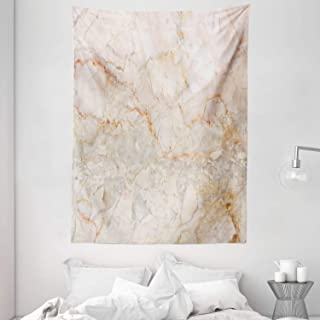 Marble Tapestry, Mine Pattern Design Natural Fractures Realistic Stained Surface Art Print, Wall Hanging for Bedroom Livin...