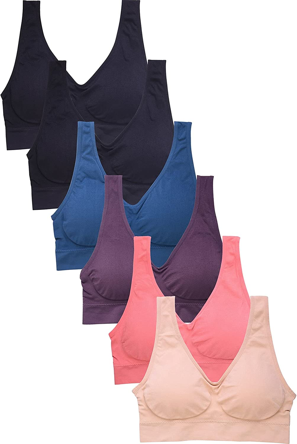 DailyWear Womens Sports Bra 6 Pack Various Style - One Size, Plus Size