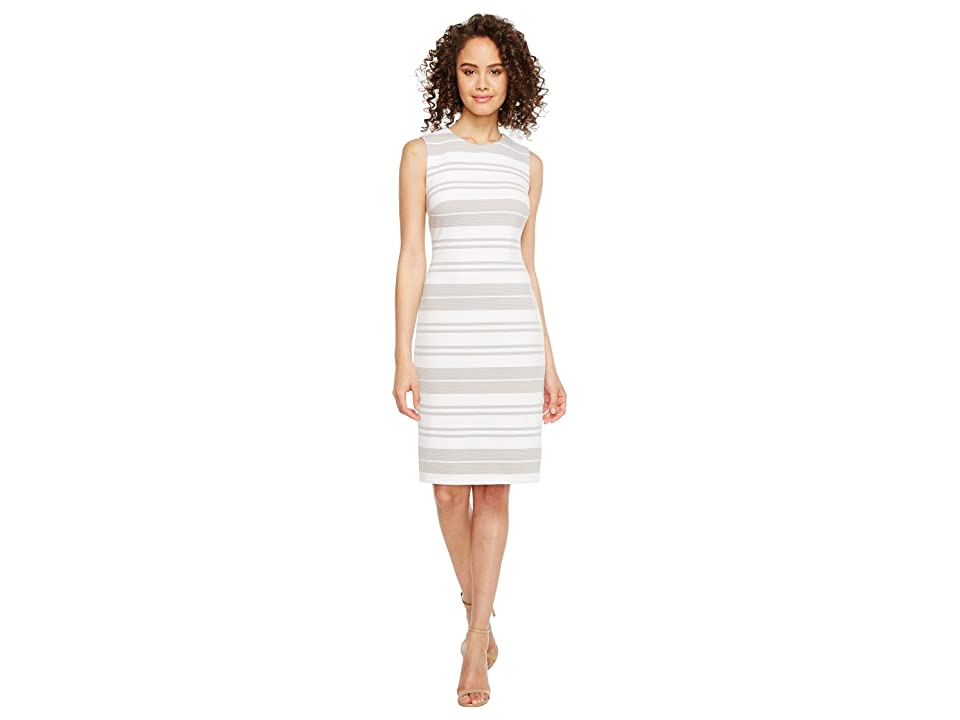 Calvin Klein Stripe Ponte Sheath Dress (White/Grey) Women