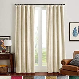 Lazzzy Velvet Curtains Beige 95 Inch Length Heavy Duty Drapes Room Darkening Thermal Insulated CurtainBedroomWindow Trea...