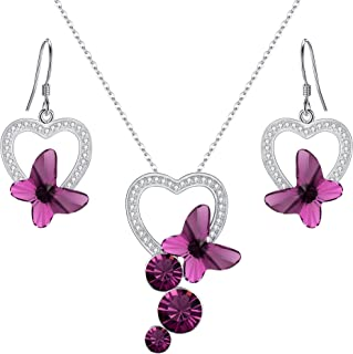 EleQueen 925 Sterling Silver CZ Butterfly Bridal Pendant Necklace Hook Drop Earrings Set Made with Swarovski Crystals