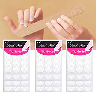 1200 Pieces French Manicure Strips Nail Stickers, Self-Adhesive Moon Shape French Tip Nail Stickers Guides, White French N...