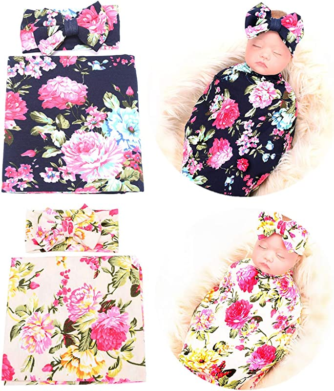 Qandsweet Newborn Swaddle Blanket And Headband Unisex Baby Printing Flower Wrap 2 Sets