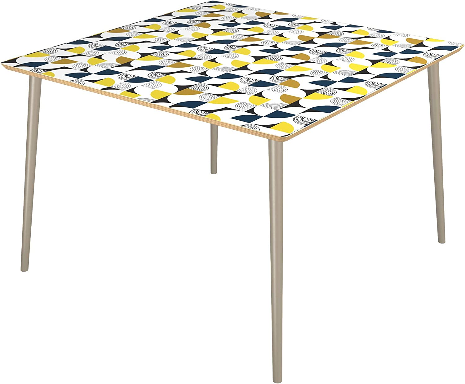 Poppy Quantity limited Square Dining Sale price Table - Surface Petals Tapered Modern Silver