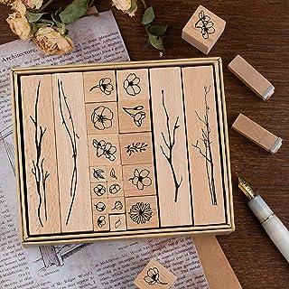 Lychii Bois Caoutchouc Tampons, 20 PCS Jeu de tampons en Bois, Vintage Tampon en Boîte de Naturelle Plante (Flowery)